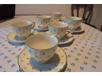 Cups & saucers - Six Laura Ashley Thistle design