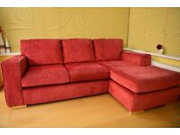 L shaped sofa. Footstool and tub chair