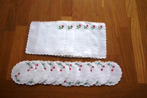 16 Vintage Linen Cocktail Napkins & Coasters Embroidered Flowers