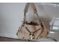 Ri2K Cream Leather Handbag
