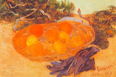 Vincent van Gogh Blue Gloves and Basket with Oranges and Lemons Poster - 18x12