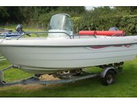 Tehri Vario F45 with 40hp Yamaha outboard engine and road trailer