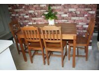 Solid Pine Wooden Dining Table and Four Chairs
