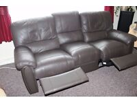 Soft brown leather 3 Seater Settee with footrests