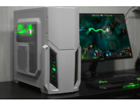 New White Gaming PC Fast Performance Quad Core 8GB AMD HD4890 GreenLED Win10 Custom Backplate