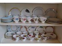 Vintage Crockery Teacups Saucers Trios Joblot over 500 pieces inc. Royal Albert
