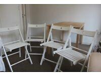 Wooden Table (Ikea Ingo) + 4 White Chairs (Ikea Terje)