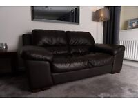 DFS Two Seater Sofa Leather, Brown x 2 + Footstool