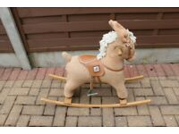 MAMAS AND PAPAS ROCKING HORSE. ON A STURDY WOODEN ROCKER. EXCELLENT.