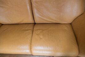 Stressless 2 Seater Reclining Through-Dyed Leather Sofa, Tan