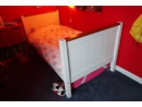 White wooden bunk beds/two singles (one mattress)