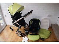 Green Silver Cross Surf pram travel system with car seat 3 in 1 ***can post***