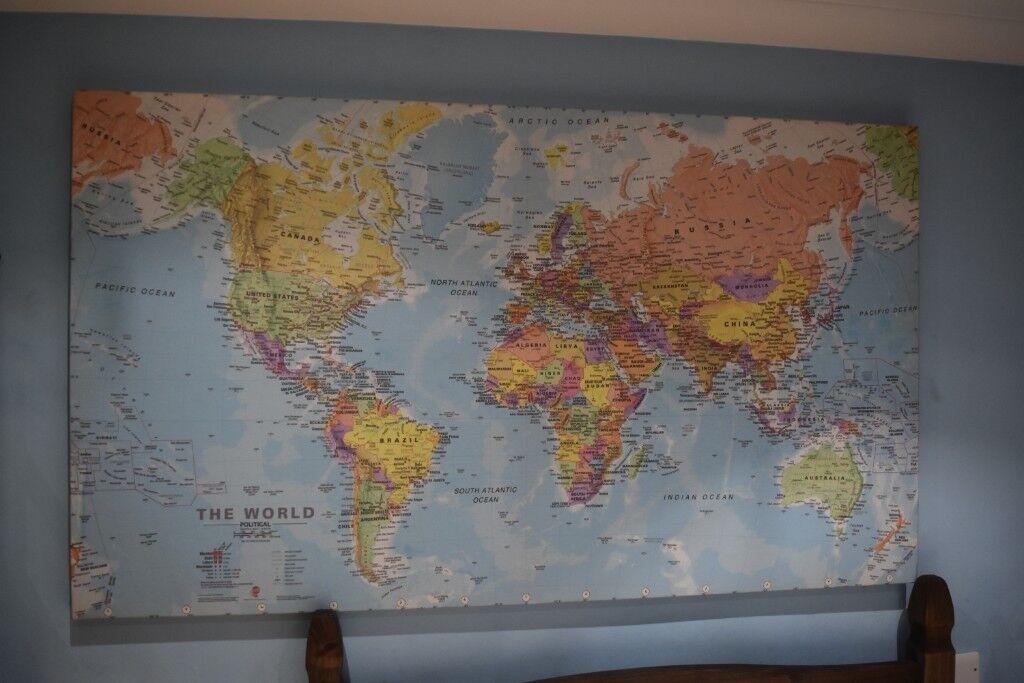 Huge World Map (Canvas) | in Wembley, London | Gumtree