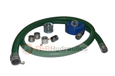 2 Green Trash Pump Water Suction Hose Honda Kit W50 Blue Discharge Hose