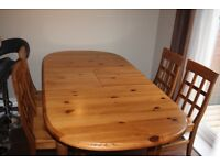 Pine John Lewis Extending Dining Table & 4 Chairs