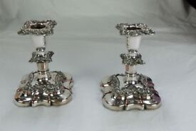 Pair of circa 1860 silver plated candlesticks