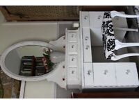 Shabby Chic period dressing table with drawers and oval mirror