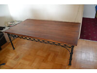 lARGE DARK WOOD AND WROUGHT IRON COFFEE TABLE £30