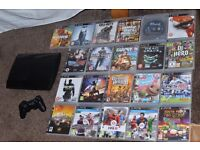Playstation 3 with 21 games & controller + leads VGC
