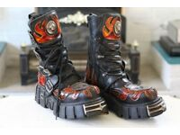 EU 40 UK 7 NEW ROCK Women's Leather Boots - Black and Red - M712