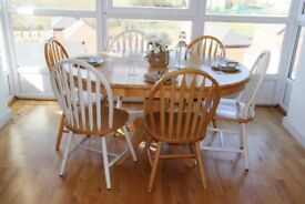 Shabby Chic Dining Table Set - 8 Chairs and Extendable Table - May Deliver