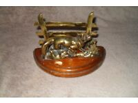 LETTER RACK BRASS FOX & FENCE SOLID WOOD BASE