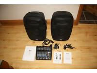 Pair of active P A speakers and Mixing desk Karaoke DJ