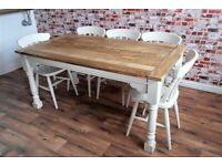Extending Dining Table Set Painted Chairs & Benches Up to Twelve Seater Rustic Farmhouse