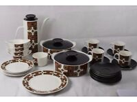 Vintage Retro 1960's J&G Meakin 28 Piece China Coffee Dinner Service Set in Maori design