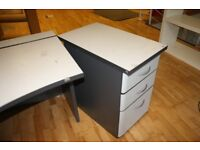 Office Desk Cabinet Drawers White Silver Wood Very Good Condition