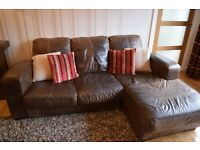 DFS Leather 3 Seater sofa with chaise & additional 3 seater & footstool