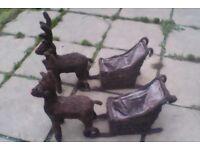 Christmas 2 Garden whicker Reindeers displays