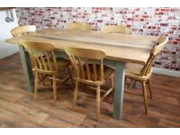 Solid Hardwood Extra Chunky Rustic Farmhouse Dining Table Set - 6 Seater