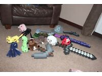 Minecraft toy bundle - soft toys and foam weapons