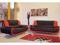 ★★ BRAND NEW ★★ CAROL 3+2 SEATER LEATHER SOFA*** IN BLACK RED WHITE AND BROWN COLOR