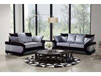 BIG Sale: Super Comfy Brand New Dino Corner Sofa In Black & SILVER or or 2+3 Seater , Crush Velvet