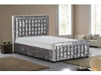 Superior Quality Crushed Velvet Bed Frame Button Detailed Headboard and Footboard Cream Silver