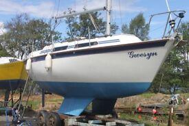 Damaged boat for sale.