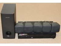 Samsung DVD player with surround sound speakers, sub and remote