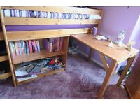 BED, Child's Mid Sleeper with Desk and Bookcase