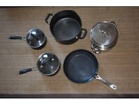 Saucepan set with glass lids/Metal vegetable steamer/John Lewis 28cm Non Stick Frying pan V.G.C