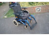INVACARE MIRAGE fold up powerchair serviced with new batteries and charger FREE DELIVERY AND DEMO.