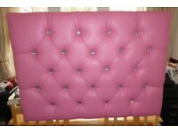 SINGLE HEADBOARD PINK BLING WITH DIAMONIQUE STUDS