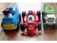 Boy toddler Roary, police car&bin lorry