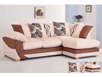 Fantastic BRAND NEW brown and mink cord corner sofa. stunning design.can deliver