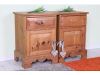 2 X SOLID PINE BEDSIDE TABLES WAXED WITH DRAWER & CUPBOARD - CAN COURIER