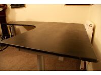 Galant/Bekant - Black Leather Upholstered - XL Corner Studio Desk
