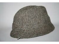 Vintage Harris Tweed Trilby Hat Pink Panther Style Brown Great Britain Made XL