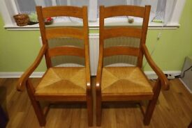 Barker and Stonehouse solid oak farmhouse French ladder 4 dining chairs and 2 carvers