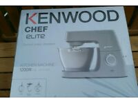 BNIB New Kenwood Elite Chef 1200W Silver Kitchen Mixer food processor Stainless Steel 4.6L Bowl